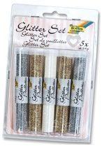 Folia glitterpoeder 2 x goud, 2 x zilver en 1 x regenboogkleurig wit