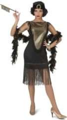 Gouden Funny Fashion Jaren 20 Danseressen Kostuum | Gatsby Charleston Dame Franje Rok | Vrouw | Maat 48-50 | Carnaval kostuum | Verkleedkleding