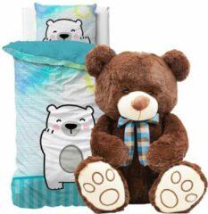 Detexpol Dekbedovertrek 1 persoons, beer 140 x 200 cm, incl. Grote super zachte speelgoed teddybeer knuffel 51 cm donkerbruin, kinderen slaapkamer eenpersoons dekbedovertrek