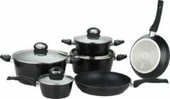 Herzberg: 10-Delige Gesmede Pannenset - Zwart- Gegoten Pannenset - Marmer Gecoate Pannen - Afneembare Handvaten - Braadpan - Koekenpan - Steelpan - Pannenset Inductie - Pan met Deksel - Bakpan
