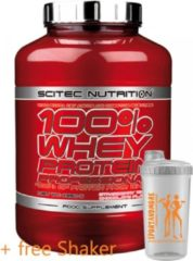 Rode Scitec Nutrition - 100% Whey Protein Profesional - With Extra Key Aminos and Digestive Enzymes - 2350 g - Banaan + sportandmore shaker