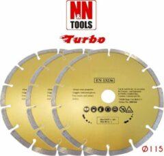 N&N Tools Diamantdoorslijpschijf Professional Multi Pack - 3 x 115 mm | Wet & Dry