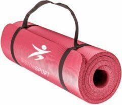Siston® Siston Sport Fitnessmat – 183 cm x 61 cm x 1.5 cm – Roze – Inclusief draagtas en extra draagriem – Hoogwaardige NBR trainingsmat - ANTI Slip mat - 100% Huidvriendelijk & Duurzaam