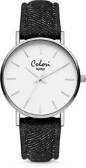 Colori XOXO 5 COL566 Horloge - Denim Band - Ø 36 mm - Zwart / Zilverkleurig