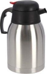Zilveren Gerim 1x Koffie/thee thermoskan RVS 750 ml - Isoleerkannen voor warme / koude dranken