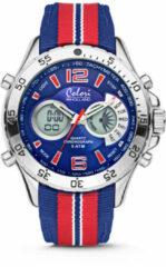 Colori Holland Sports 5 CLD135 Digitaal Horloge - Nylon Band - Ø 48 mm - Rood / Blauw