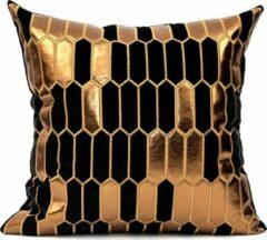 Kussenart Kussenhoes vierkant - Zwart Met Brons Honinggraat - 45cm x 45cm - Fluweel/Velvet - Sierkussens