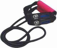 Roze Mad Fitness FitnessMad | Weerstandtubing - Weerstand MEDIUM. 130 CM. Zeer sterke - en hoge kwaliteit tubing met handvatten om (thuis) mee te trainen.