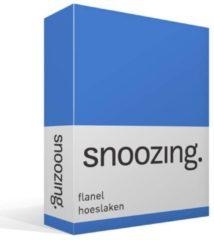 Snoozing flanel hoeslaken - 100% geruwde flanel-katoen - Lits-jumeaux (160x210/220 cm) - Blauw