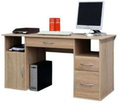 """VCM Schreibtisch Tisch Computertisch Laptop PC Fach Schubladen Sonoma-Eiche Sägerau Büro Möbel 73x145x60 cm """"Tallinn"""""""