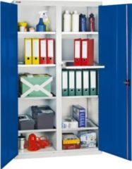 Stumpf Metall Stumpf® Serie 3000 Werkzeugschrank mit Mitteltrennwand und 8 Wannenböden, lichtgrau / blau - 180 x 100 x 50 cm