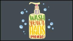 Fuchsia MatStyles Vloerkleed Tapijt Message Mat - Just wash your hands please - 150 x 85 - COVID-19 - Wasbaar