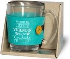"""Turquoise Snoepkado.com Theeglas - Jij bent de liefste vriendin en de leukste theeleut - Voorzien van een zijden lint met de tekst """"Speciaal voor jou"""" In cadeauverpakking met gekleurd lint"""