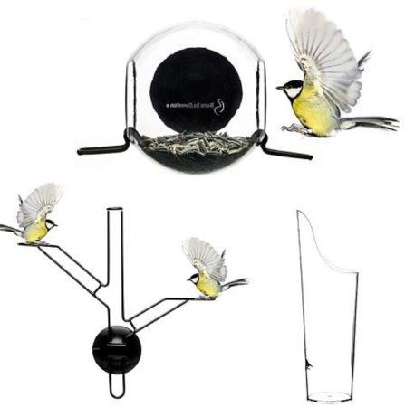 Afbeelding van Zwarte Vogelvoeder set Closeup - Set van 3 - Transparant & Zwart - Born In Sweden