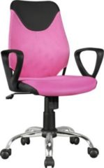 AMSTYLE Kinder-Schreibtischstuhl KiKa Schwarz Pink für Kinder ab 6 mit Lehne Kinder-Drehstuhl Kinder-Bürostuhl ergonomisch Jugendstuhl höhenverstell