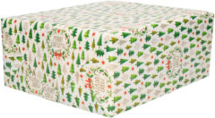 Bellatio Decorations 1x Rollen Kerst Cadeaupapier/inpakpapier Wit Met Mini Kerstboompjes Print - 200 X 70 Cm