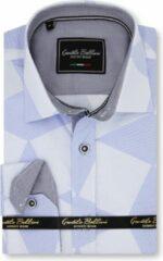 Gentile Bellini Heren Overhemd - Slim Fit - Diamond Checker Pattern - Blauw - Maat M