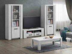 Zwarte Belfurn-TV-wand Elvis in een decor van witte eik bestaande uit Tv-meubel met 2 x kolom glasdeur