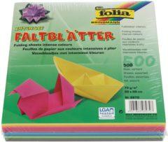 Folia Paper Vouwblaadjes Folia 70g/m² 20x20cm assorti pak à 500 vel