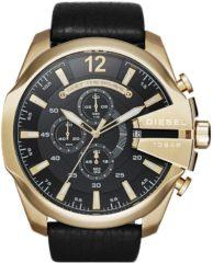 Diesel Horloge Chronograaf Mega Chief staal/leder goudkleurig-zwart DZ4344