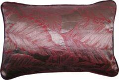 A&E Originals - Kussen satijn Leaves Aubergine - 40 x 60 cm