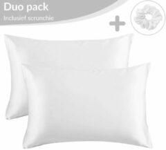 Simply Cosy Satijnen Kussensloop Beauty Anti Allergeen - Huidverzorging - Haarverzorging - Wit - 50 x 60 – 2 Stuks
