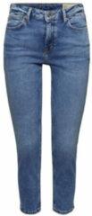 Blauwe ESPRIT Women Casual cropped slim fit jeans medium blue denim