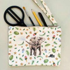 Groene Mies To Go Etui voor jongens en meisjes met olifant - toilettas jongens en meisjes - schooletui knutselen - geschilderd door Mies met aquarel - stevig canvas - wasbaar