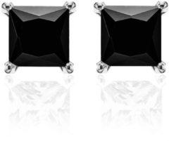 New Bling 9NB-0037 - Zilveren oorstekers - zirkonia vierkant 6 mm - zilverkleurig / zwart
