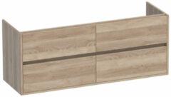 Saniclass Nexxt onderkast 140cm met 4 laden greeploos 2 sifonuitsparingen Legno Calore 1342