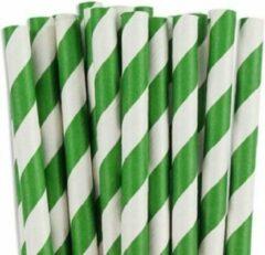 Joyenco Papieren rietjes groen gestreept - 50 stuks - duurzaam, 100% composteerbaar