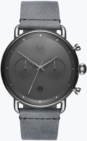 Afbeelding van MVMT Blacktop D-BT01-SGR - Horloge - Zilverkleurig/Grijs - Leer - 47mm