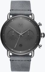 MVMT Blacktop D-BT01-SGR - Horloge - Zilverkleurig/Grijs - Leer - 47mm