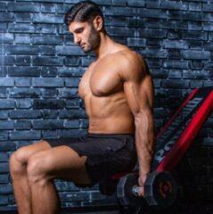 Rode Men's Health Urethane Dumbbell 15 kg - Crossfit - Oefeningen - Fitness gemakkelijk thuis - Fitnessaccessoire