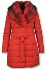 Gentile Bellini Lange Parka Dames Winterjas – Met Rode Bontkraag – Rood - Maat: XL