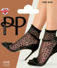 Pretty Polly Sheer Heart Anklet 1pp - Zwart - one size