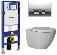 Douche Concurrent Geberit Up 100 Toiletset - Inbouw WC Hangtoilet Wandcloset - Shorty Delta 50 Glans Chroom