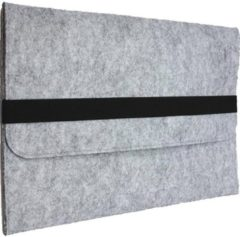 Shop4 - 11 inch Laptop Hoes - Sleeve Wolvilt Licht Grijs