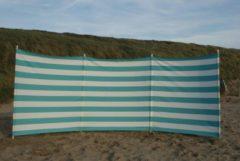 Strandwindschermen.nl Strand Windscherm 4 meter Dralon Turquoise blauw/wit met houten stokken