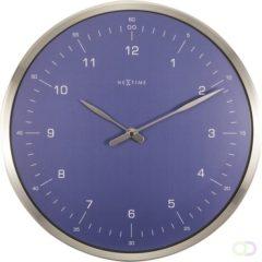 Blauwe NeXtime 60 Minutes - Wandklok - Rond - Metaal en Gebold Glas - Stil uurwerk - Ø 33 cm - Blauw