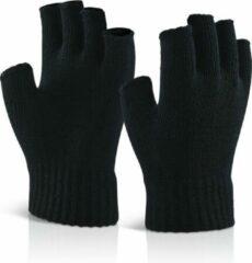 Senvi Classic Vingerloze Handschoenen met Geribbelde Manchetten - Zwart - S/M