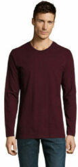 Bordeauxrode T-Shirt Lange Mouw Sols Camiseta manga larga
