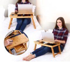 Naturelkleurige Decopatent® Laptoptafel verstelbaar voor op schoot - Bamboe Bed of Bank tafeltje - In Hoogte verstelbaar & Inklapbaar - Bedtafel