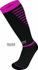 Roze Horizon Sport compressie kousen zwart/cerise Small (35-38) Kuit:28-36cm