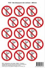 Rode Stickerkoning Pictogram sticker P037 - Het sleepspoor niet verlaten - Ø 50mm - 15 stickers op 1 vel