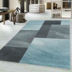 Adana Carpets Retro vloerkleed - Stencil Rectangles Blauw Grijs 140x200cm