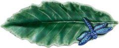 Bordallo Pinheiro Folhas Serveerschaaltje - Kastanjeblad - Libelle - Groen/Blauw - Aardewerk - 16 cm
