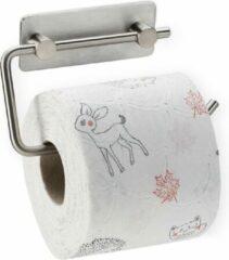 Relaxdays toiletrolhouder zelfklevend - zonder boren - wc rol houder zilver- rvs