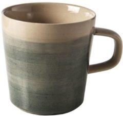Beige Cosy&Trendy Destino Dark groen Beker - Ø9x9,5 cm - 38 cl - 6 stuks