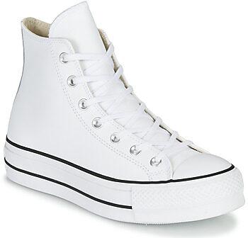 Afbeelding van Witte Converse Chuck Taylor All Star Platform High Leather - Dames Schoenen - White - Textil - Maat 35 - Foot Locker